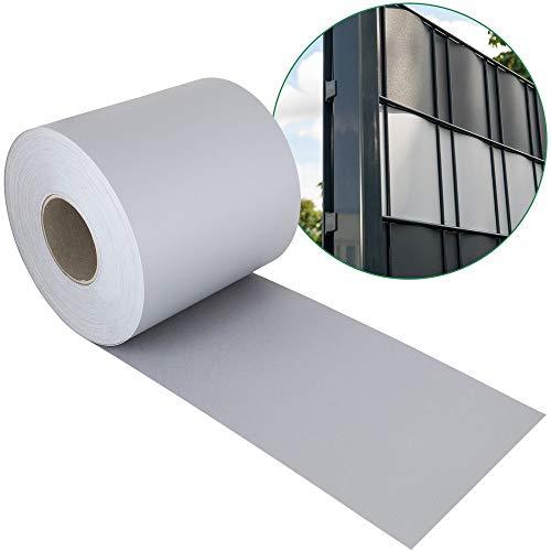 Sichtschutzstreifen PP für Doppelstabmatten - grau - Hemmdal - Stärke von 1,1 mm - Zaun Sichtschutz 35 m Doppelstabmattenzaun hart
