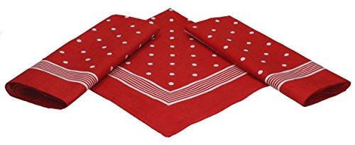 Betz 3er Pack Nickituch Bandana Kopftuch Halstuch klassischem Punktemuster Größe 55 x 55cm 100% Baumwolle Farbe: rot