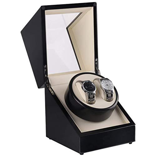 GLXLSBZ Caja automática de reloj de la devanadera de la caja de cuero de lujo caja de almacenamiento para 2 relojes de pulsera, caja de reloj de pintura negra hombres y