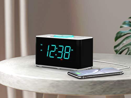 Emerson Radio ER100401 Smartset Alarm Clock Radio, 15Watt Ultra Fast Wireless Charging Dual Alarm Clock Radio with Bluetooth Speaker, USB Charger, Cyan LED Night Light and 1.4 Display