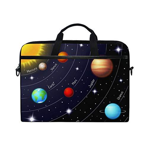JOYPRINT Funda para laptop, Universe Space Galaxy Solar System 14 – 15.4 pulgadas, maletín Messenger para computadora portátil con asa de correa para el hombro para hombres, mujeres, niños y niñas