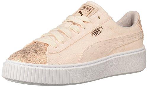 PUMA Women's Basket Platform Canvas WN's Athletic Shoe, Pearl/Rose Gold, 9.5 M US