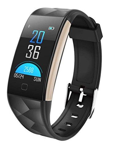 kingko 0.96 Zoll TFT bunter Bildschirm,IP67 wasserdicht,T20 Color Screen Bluetooth Smart Watch Heart Rate Monitor Smart Band,Herrenuhr - Damenuhr I Schlicht, elegant und sportlich (schwarz)