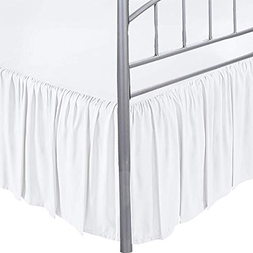 ARlinen Ruffled Bed Skirt with Split Corners - White, Cal-King BedSkirt, Gathered Style Easy Fit up to 18 Inch Drop, Wrap with Platform Three Sided Coverage Ruffle Bed Skirts (White Cal-King)