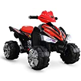 Kidzone 12V Battery Powered Ride On 4-Wheeler ATV w/LED Headlights, Forward and Reverse Gears, ASTM F963 Certified - Red