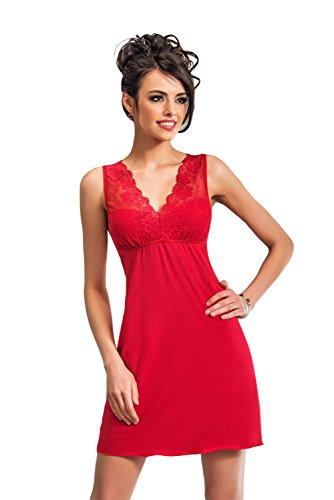 Selente edles Damen Negligee/Nachthemd mit eleganter Spitzenverzierung und zusätzlicher exklusiver Satin-Augenbinde, rot, Gr. 42