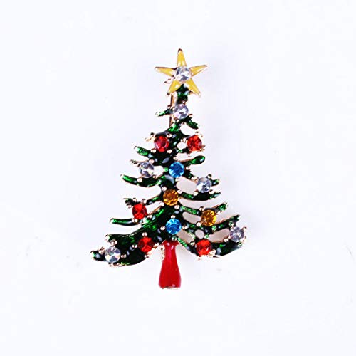 N / A Exquisite Green Enamel Elements Christmas Lovely Brooch All Crystal Jewelry Tree Style
