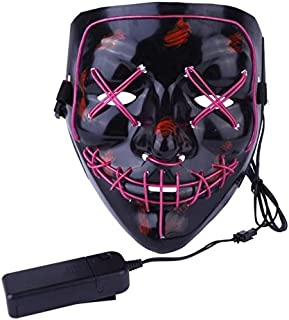 SUNREEK Halloween Mask Light Up V Mask EL Wire LED Scary Mask for Festival Parties Costume, Fakes Masquerades