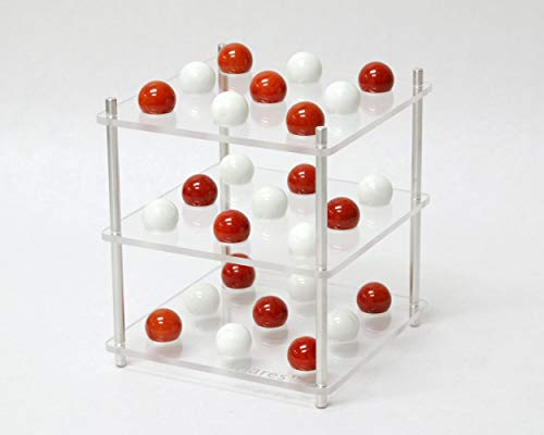 triares Game - 3D Three Dimensional Tic Tac Toe - Made in USA (Red and White Marbles)