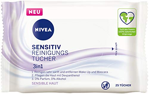 NIVEA 3in1 Sensitiv Reinigungstücher (25 Stück), milde Gesichtsreinigungstücher mit Dexpanthenol, sanfte Abschminktücher für sensible Haut