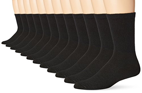Hanes Mens 12-Pack FreshIQ Odor Protection Crew Socks, Black, Shoe Size: 6-12