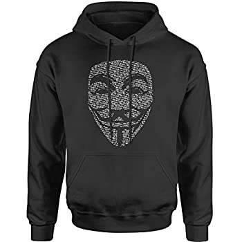 Hoodie V for Vendetta Anonymous Mask Adult Small Black
