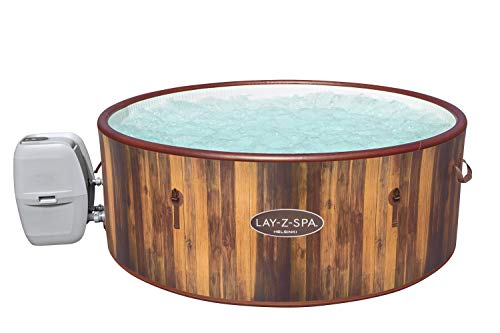 Lay-Z-Spa Helsinki Hot Tub, 180 AirJet Wood Effect Inflatable Spa with Freeze Shield Year Round Technology and Rapid Heating, 5-7 Person