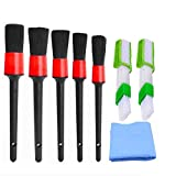 8 Pieces Car Detailing Brush Set, 5 PCS Auto Detail Brush with 2 PCS Automotive Air Conditioner Brush Cleaner and 1 Pieces Car Chamois Drying Towel for Cleaning Car Interior Dashboard Vent Seat Window