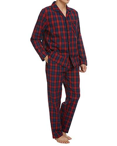 Schlafanzüge Herren Schlafanzug Herren Pyjama Lang Baumwolle Winter Zweiteilige Nachtwäsche Langarm Shirt und Pyjamahose mit V-Ausschnitt und Knopfleiste-Design, Kariert Rot, Gr- L
