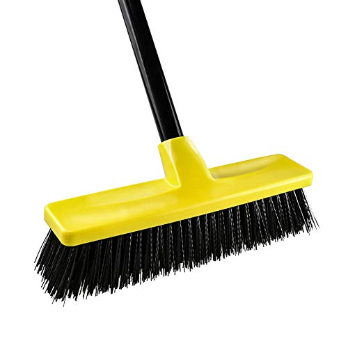 Push Broom Outdoor Indoor Concrete Broom Rough Surface with Long Handle Stiff Bristles for Cleaning Scrubbing Deck Sidewalk Driveway Yard Patio Wood Stone Tile Multi-Surface Floor