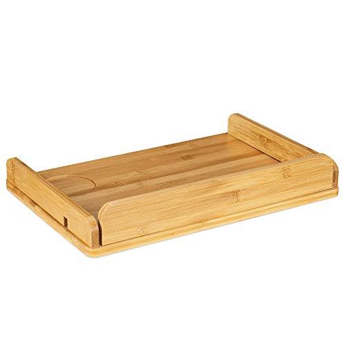 Navaris Mesilla de Noche Flotante - Estante de Cama Ajustable de bambú - Mesita pequeña para Libro Agua Comida - Diseño Minimalista - 38 x 26 CM