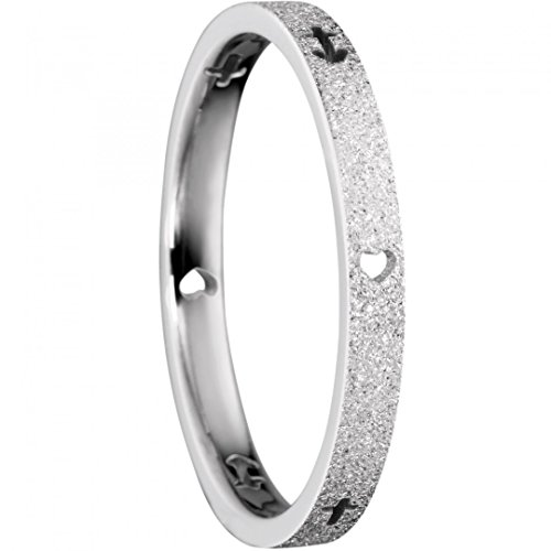 BERING Stapelring Edelstahl Sparkling Effect Glaube-Liebe-Hoffnung Silber schmal Arctic Symphony Collection 559-15-X1, Ringgröße:60 (19.1 mm Ø)