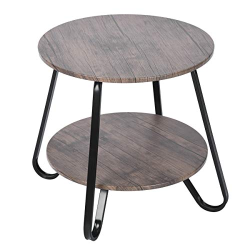 MEUBLE COSY Basse D'appoint Thé Table de Chevet Ronde avec Rangement Scandinaves Industriel Vintage Design...