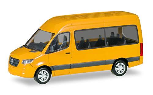 Herpa 093804-002 Mercedes-Benz Bus HD, verkehrsgelb, Sprinter Mini zum Basteln und Sammeln