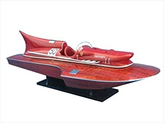 Handcrafted Model Ships Ferrari RC Ready To Run Remote Control Ferrari Hydroplane Limited 32 in. Decorative RC Boat