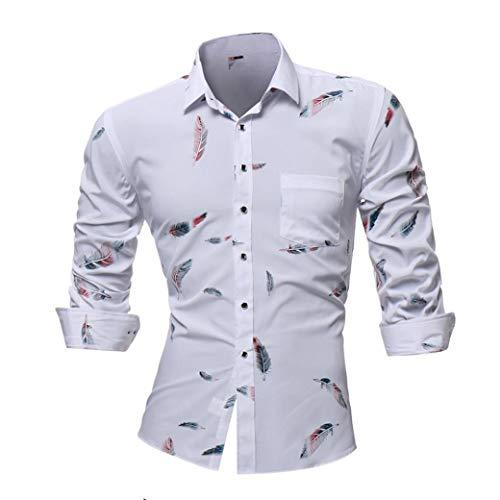 DAYLIN 2018 Otoño Hombres Camisas Casual Pluma Impreso Slim