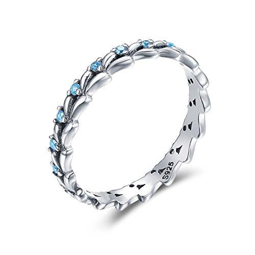 Eternity Anello da donna in argento Sterling 925 con zirconia cubica blu, anello di fidanzamento o matrimonio e Argento, 11, cod. HR162