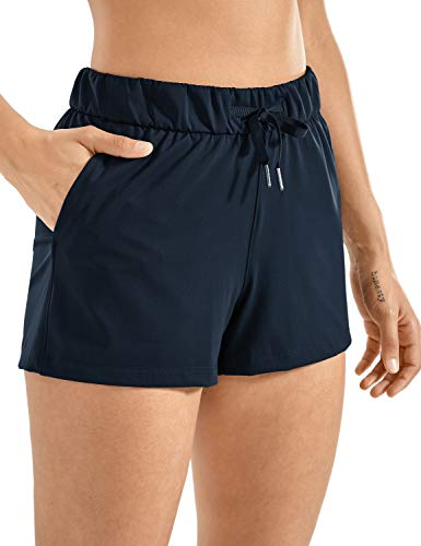 CRZ YOGA Women's Stretch Lounge Travel Shorts Elastic Waist Comfy Workout Shorts with Pockets -2.5 Inches True Navy Small