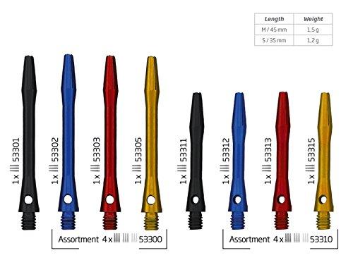 Bull's Shaft Simplex Color Dart Shafts, 3er Set, Typ:53315 - Short - gold