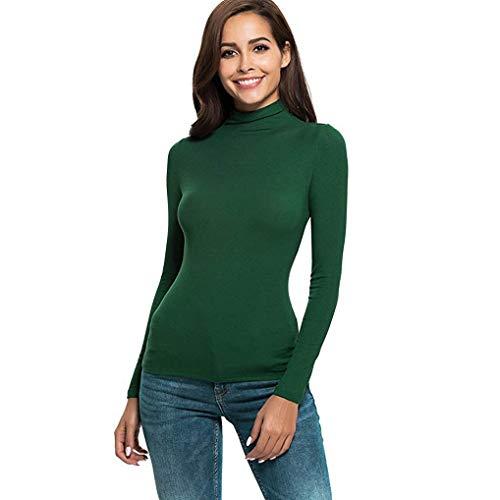 FNKDOR Tee-Shirt à Manches Longues pour Femmes Printemps Automne Slim Col Roulé Basique Top Hauts Blouse(Vert,XL=FR(40))