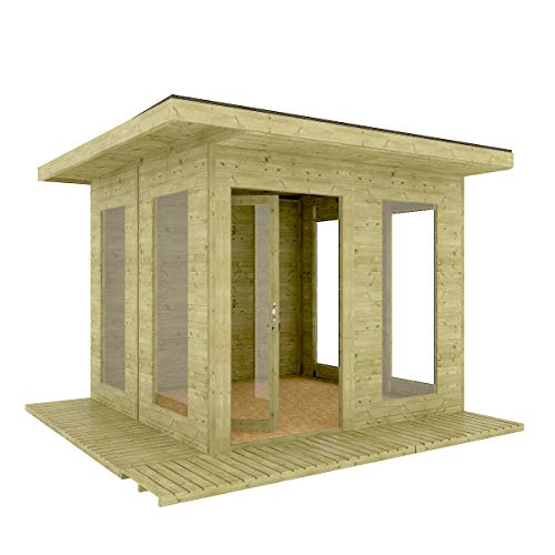 10 x 10 Garden Room Home Office Pressure Treated Pent Overhung Lounge Summerhouse Shed with Opening Windows and 11mm Tongue and Groove Floor (3.4m x 3.4m)