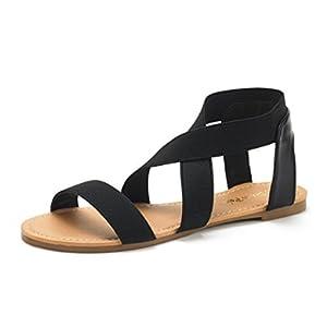 DREAM PAIRS Sandals for Women Elatica-6 Black Elastic Ankle Strap Flat Sandals - 10 M US