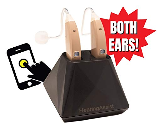 Hearing Assist Recharge | Rechargeable BTE Air Conduction Hearing Aid (Both Ears) | FDA Registered with Charging Case | TV Offer with Free Technical Support | Beige