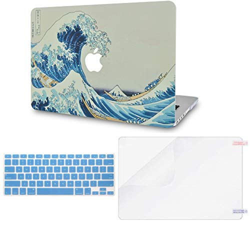 LuvCase 3 in 1 LaptopCase with Keyboard Cover and Screen ProtectorforMacBookPro 13' (2020/19/18/17/16 Release) with/Without Touch Bar A2159/A1989/A1706/A1708 HardShell Cover(Japanese Wave)
