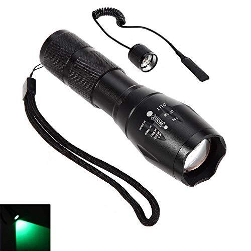 Torcia a LED con luce rossa, zoom a fuoco regolabile, torcia tattica, da caccia o Trekking, Riflettore LED + interruttore a pressione remoto., verde