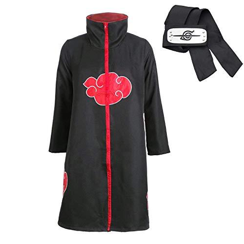 Akatsuki Kostüm Akatsuki Cape Jacke Cosplay Kostüm Mantel Itachi Uchiha Kleid Akatsuki – Konoha Stirnband Anime Cosplay Kopfband Gr. XL, Schwarz