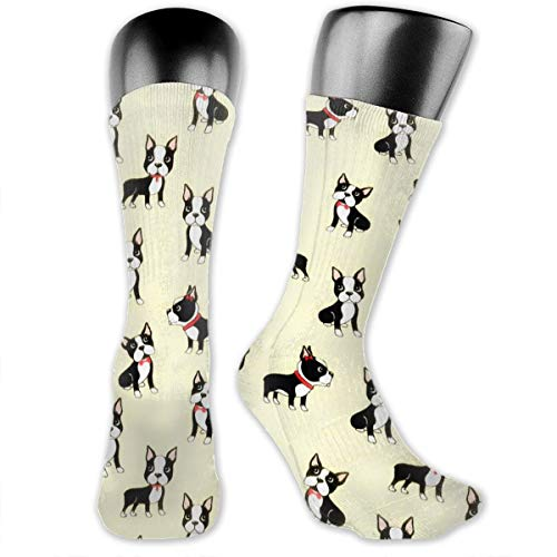 Black Boston Terrier Vector Dress Socks For Men & Women, Classic Fun Colorful Patterned Compression Boot Socks, Soft Polyester Fabric Casual Tube Socks