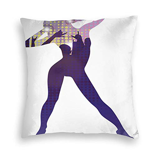FULIYA Ultra Soft Velvet Pillow Cases,Silhouette of Dancing Young Lady In High Heel Shoes Purple Disco Image Built-In Design,Pillowcase with Hidden Zipper 18X18 Inches