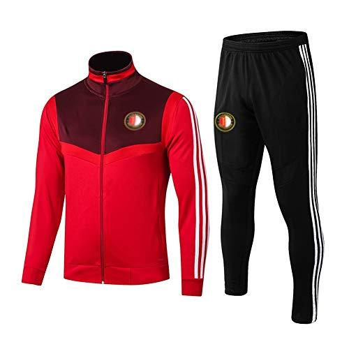 L-YIN Traje entrenamiento de fútbol Club de adulto Camiseta de la Juventud de manga larga y pantalones de jogging BreathableTop QL0087 Traje Chándales (Color : Red+Black, Size : S)