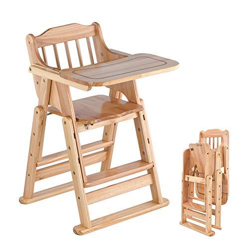Klappbarer Hochstuhl aus Holz, höhenverstellbar, Babystuhl für Mädchen und Jungen, 6-12 Jahre, mit herausnehmbarem Tablett und Rollen
