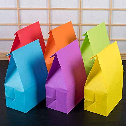 30 Pieces Kraft Paper Party Favor Bags Assorted Colors (Rainbow Without Handle)