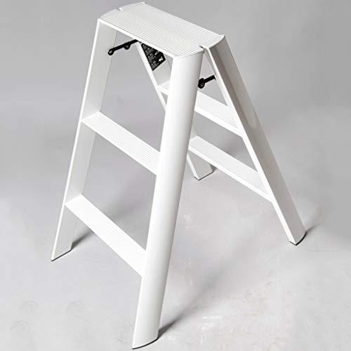 Kleiner Leiter Haus Klappleiter Aluminiumlegierung dick Fischgrät-Leiter Wohnheim Leitergestell Stabilität und Sicherheit (Color : White)