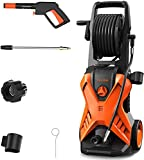 PAXCESS Electric Pressure Power Washer, High Jet Washer Portable Car Washer Machine with Spray Gun,26ft High Pressure Hose and Hose Reel,Jet Wash for Deep Clean Patios Fences Garden