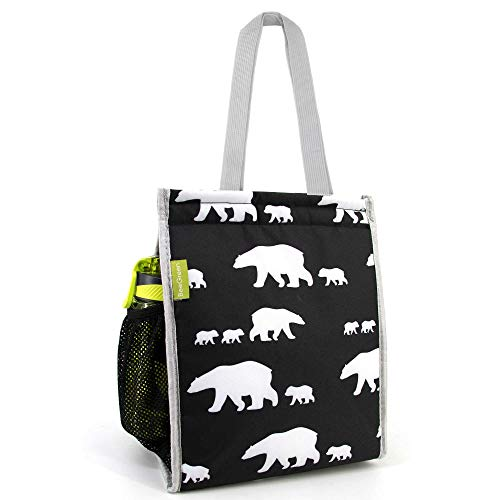 Lunch Bags with Side Mesh Pocket Extra Large Washable Cold Warm Lunch Totes Bag for Women Men Magic Tape Closure Portable Waterproof Soft Lunch Tote Bags Polar Bear Animal Printing