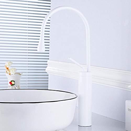 Grifo de lavabo de color dorado cepillado, grifo mezclador de baño de latón, grifo de lavabo de un solo mango para cuarto de baño, blanco 2 grifos mezcladores de fregaderos... (color: blanco 2)