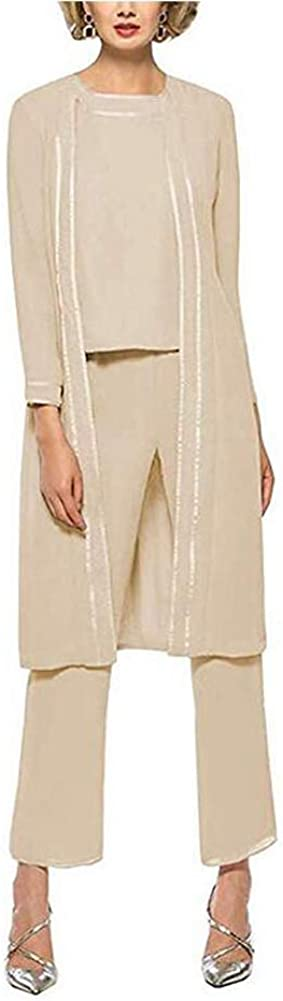 Womens Champagne 3 Pieces Chiffon Mother of The Bride Dress with Jacket Pant Suits US22W