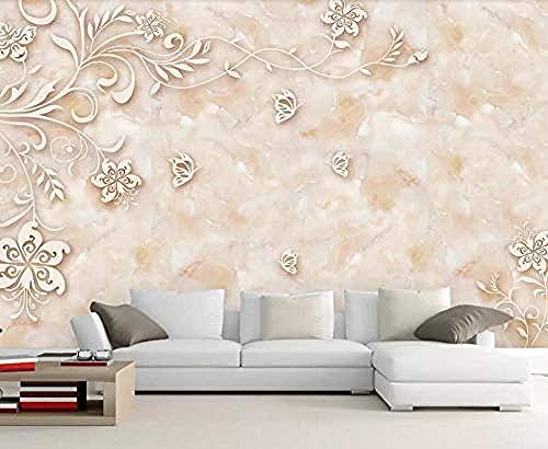 Azulejo de mármol con patrón de piedra no tejido Pared Pintado Papel tapiz 3D Decoración dormitorio sala sofá mural-400cm×280cm