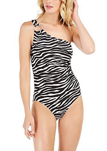Michael Michael Kors Women's Zebra-Print One-Shoulder Underwire One-Piece Swimsuit (4)