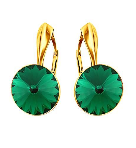 Beforya Paris* Rivoli Rainbow Glow – Bonitos pendientes – Emerald – Plata 925 chapada en oro 24 K – Bonitos pendientes para mujer con cristales de Swarovski Elements – Fantásticos pendientes