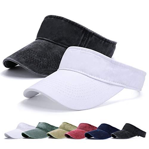 Viseras para Mujeres - Visor Gorras, Sombrero de Velcro Ajustable 1/2 Gorra Deportiva Protección UV Viseras...